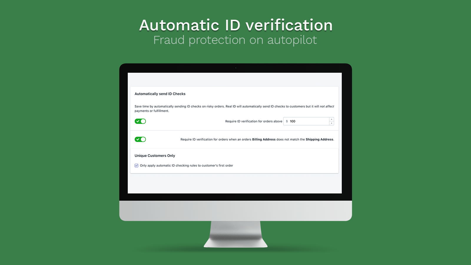 Automatically require verification of high risk orders