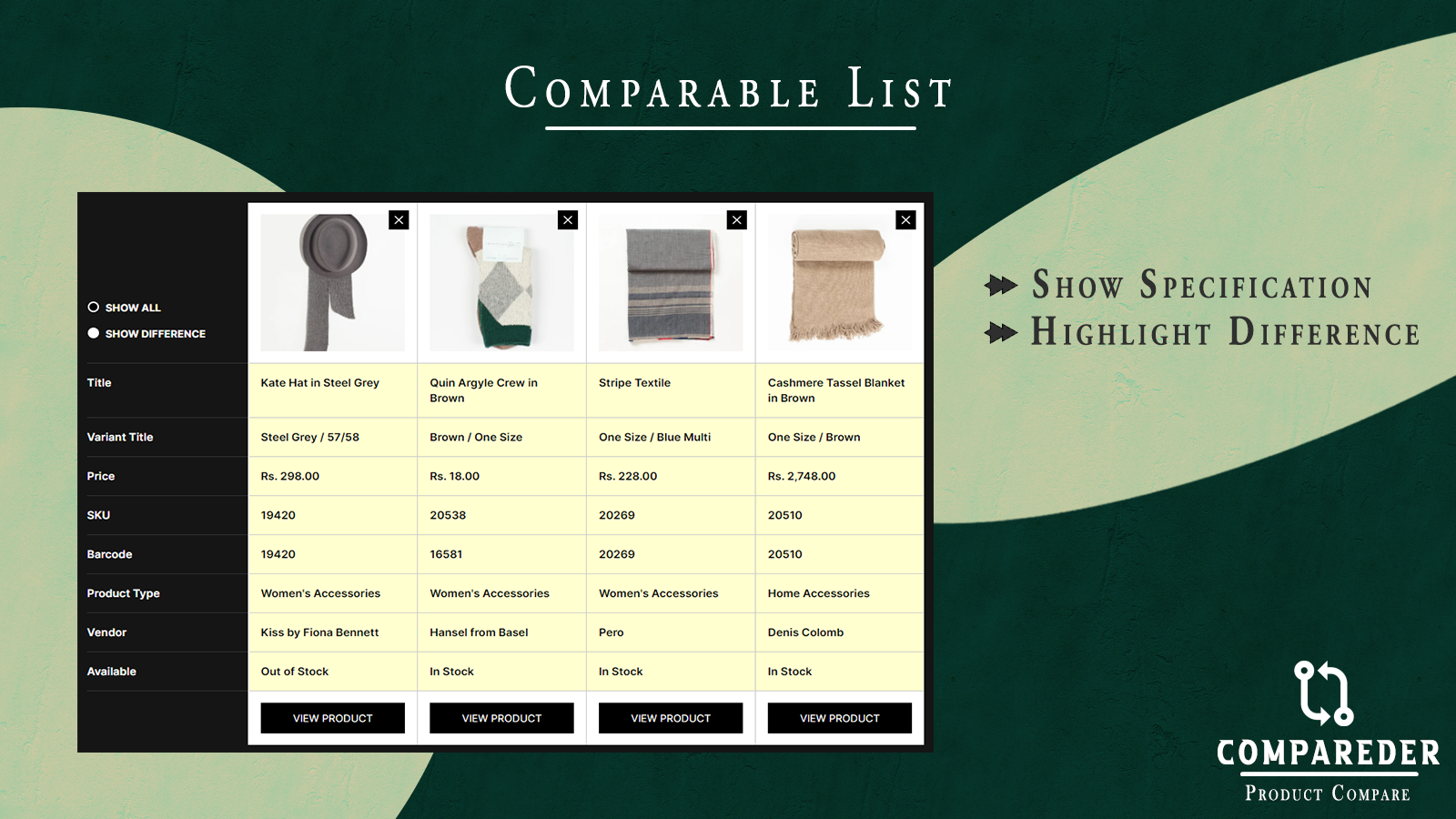 Comparable List