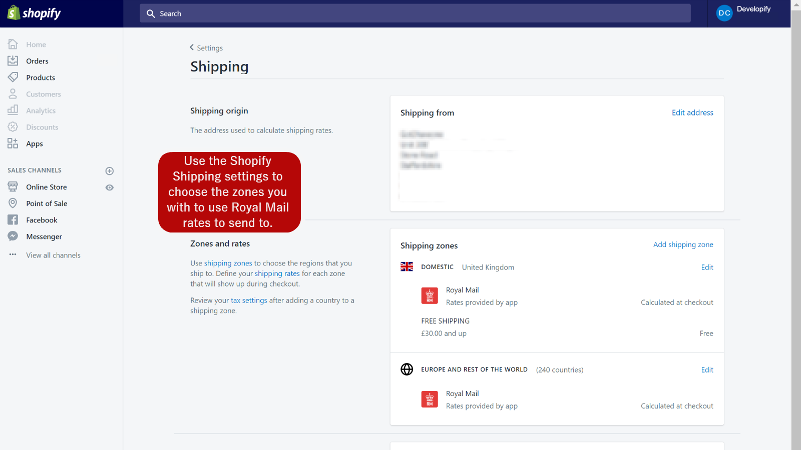 Integrated into Shopify Shipping Zone Config