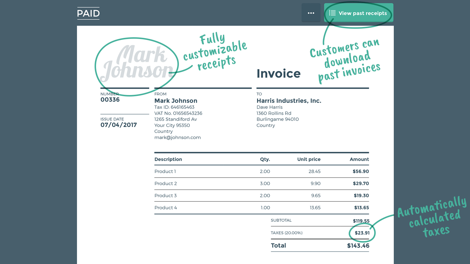 Fully customized receipts including tax information