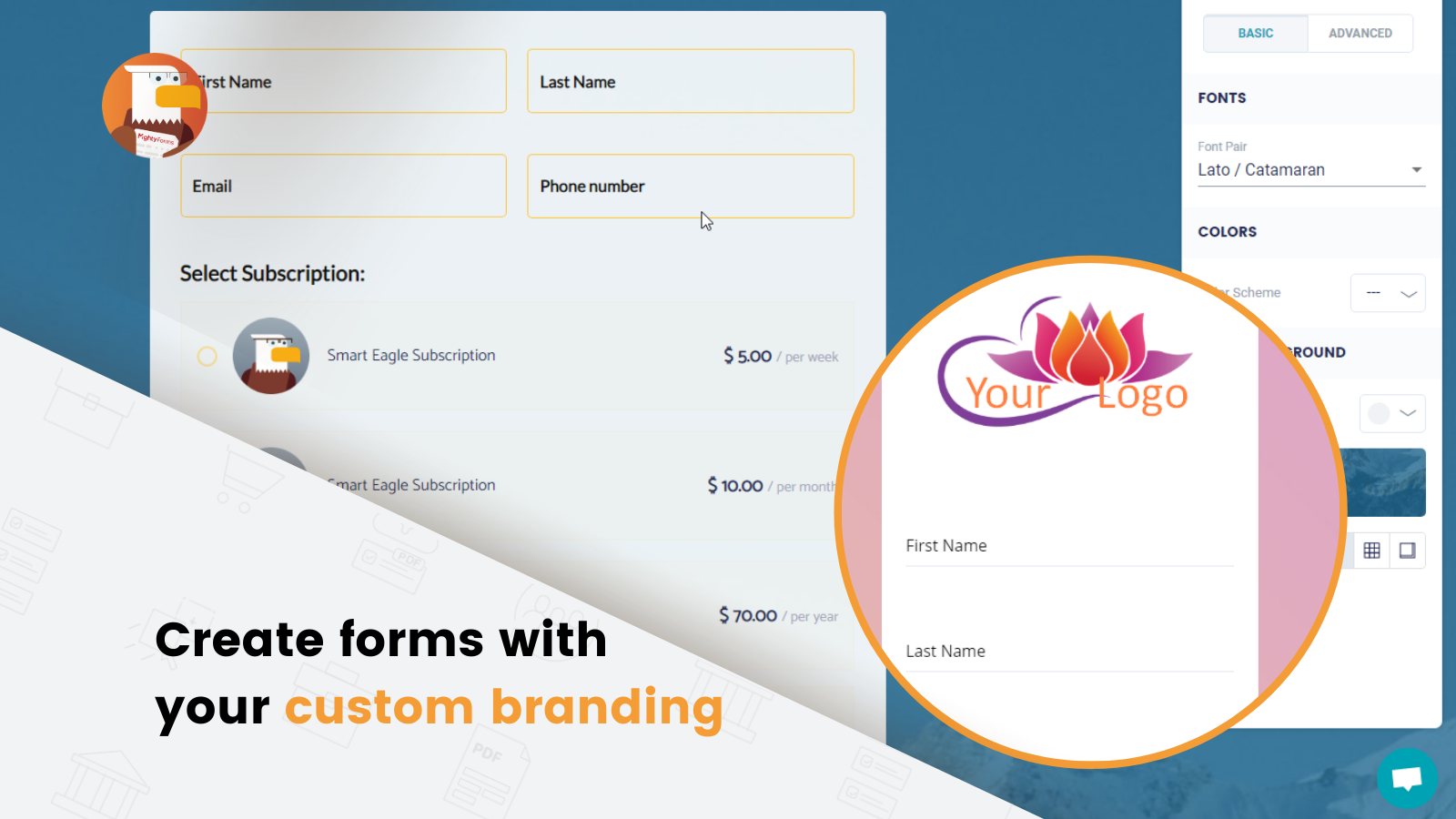 Drag & drop fields, customize your forms to match your branding