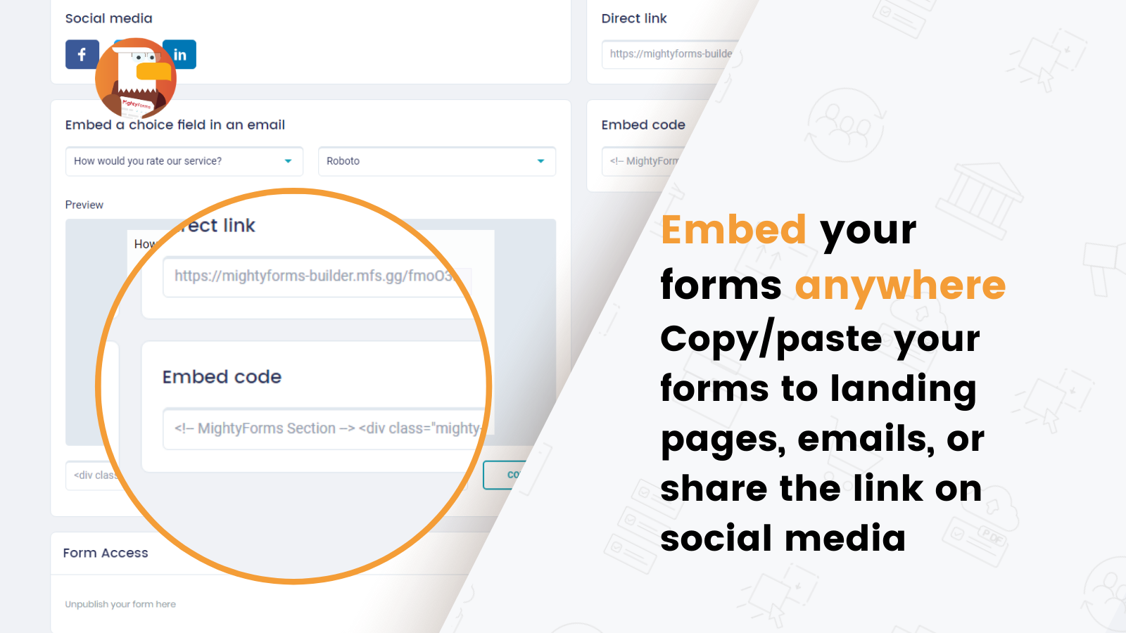 Publish & Embed your form in any web page, email or share a link
