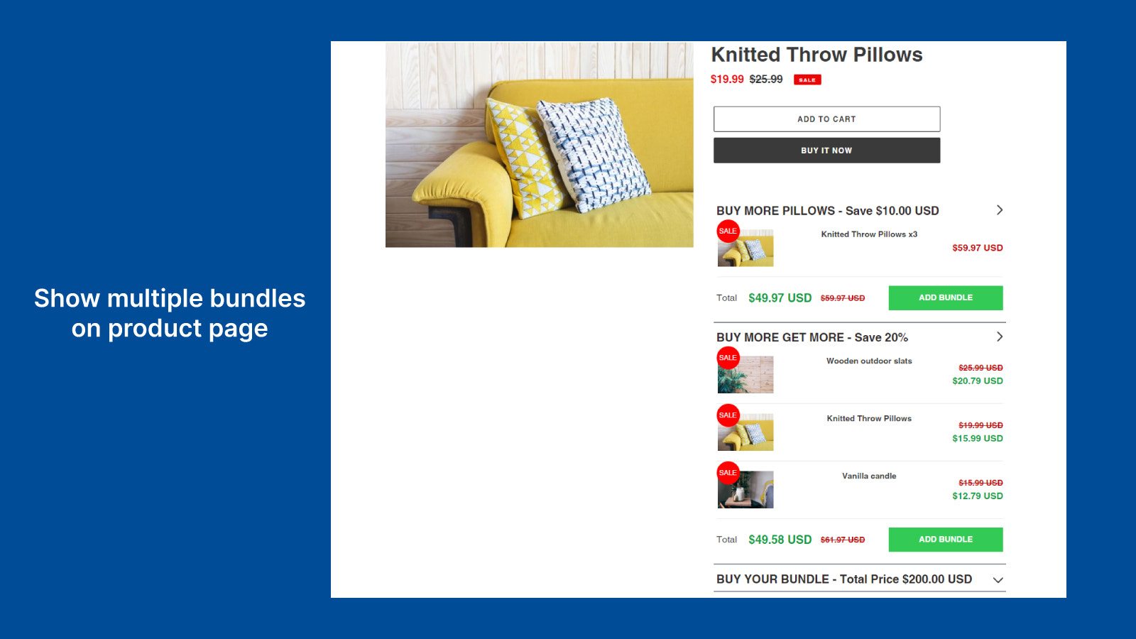 Show multiple bundle product on product page