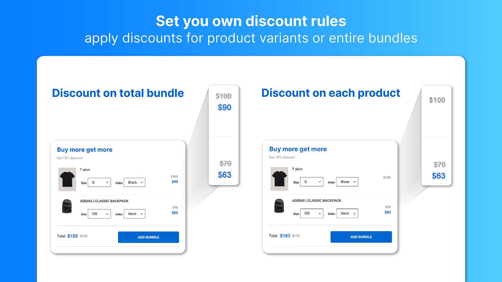 Set your own discount rule: Variant discount or bundle discount