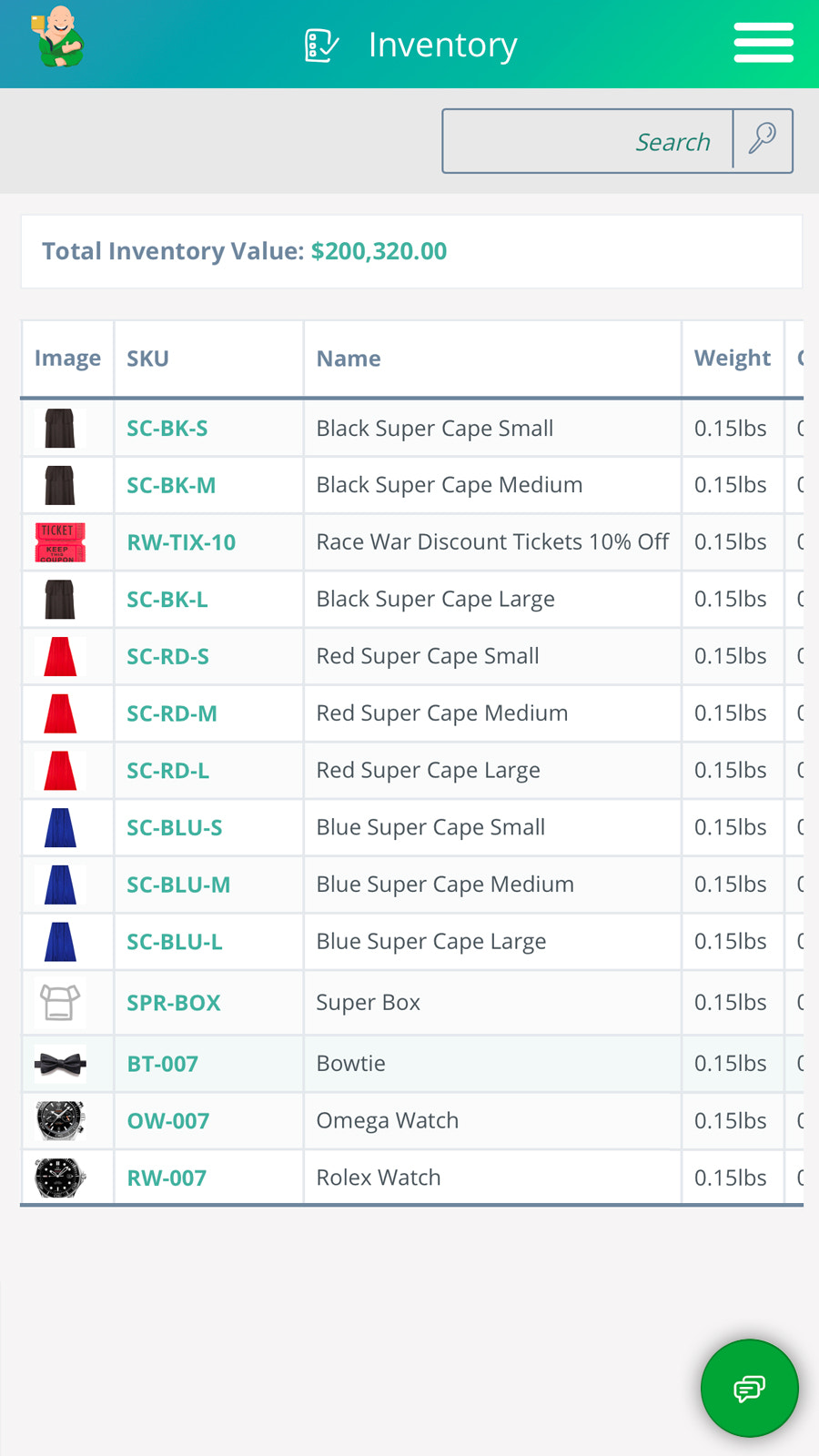 Inventory Management View on Mobile