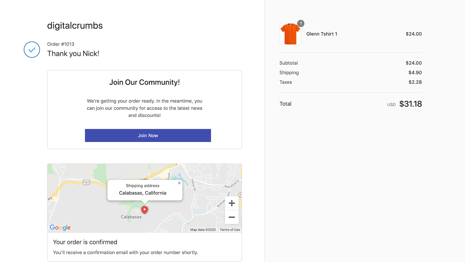 Send customers to your community after checkout.