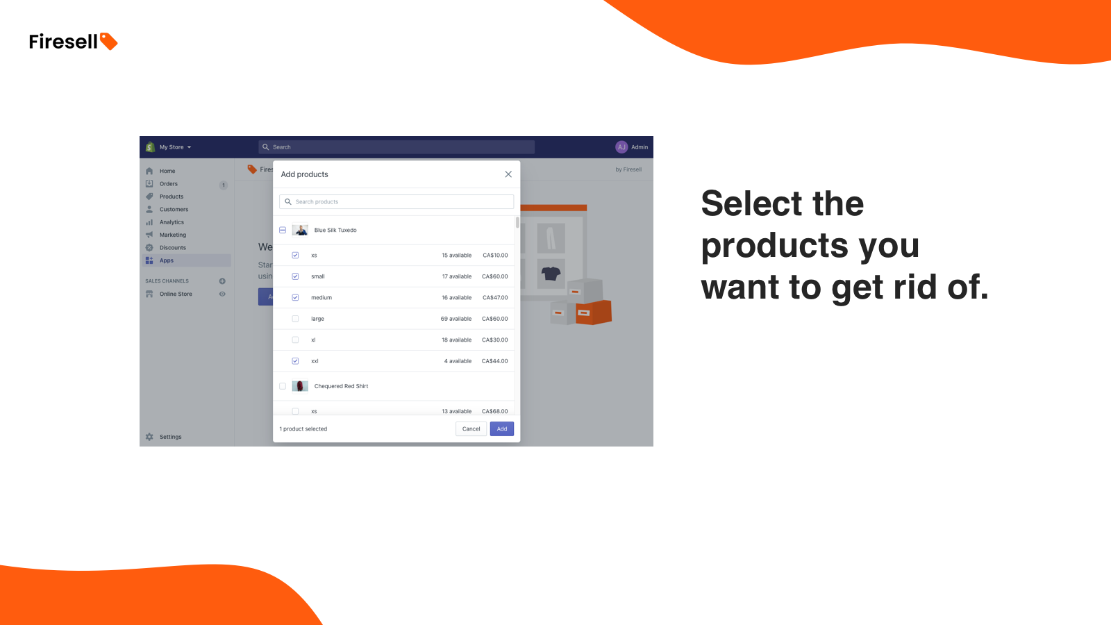 Select the products you want to get rid of