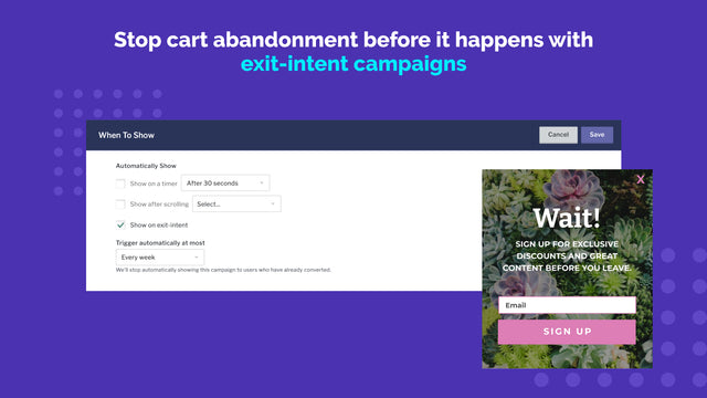 Recover Carts with Cart Savers + Exit Intent Popups
