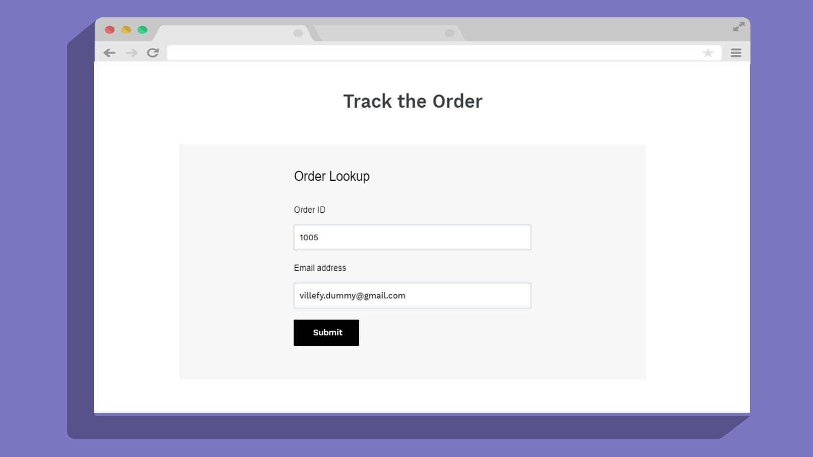 quick order status lookup page