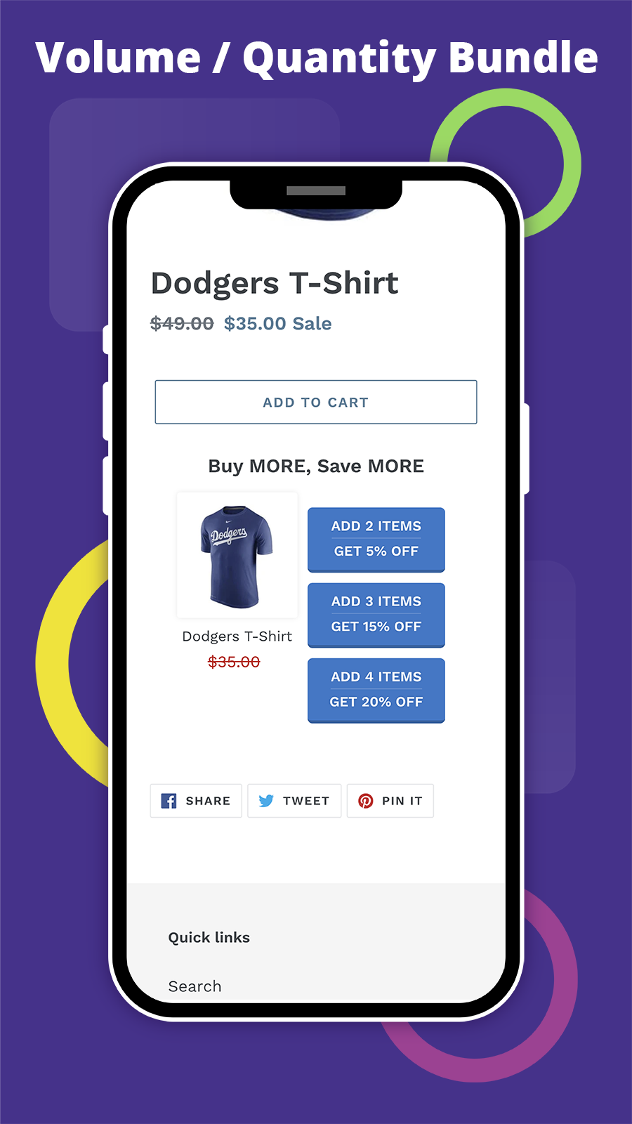 Create multiple product bundles, fixed or percentage discounts.