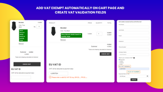 Add VAT Exempt auto on cart page & product page