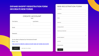 Expand registration form or create new one to separate your cust