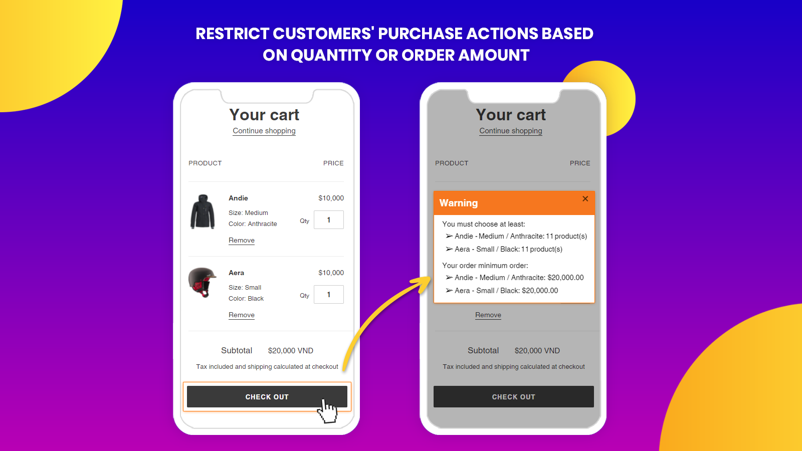 Set minimum order amount for specific products