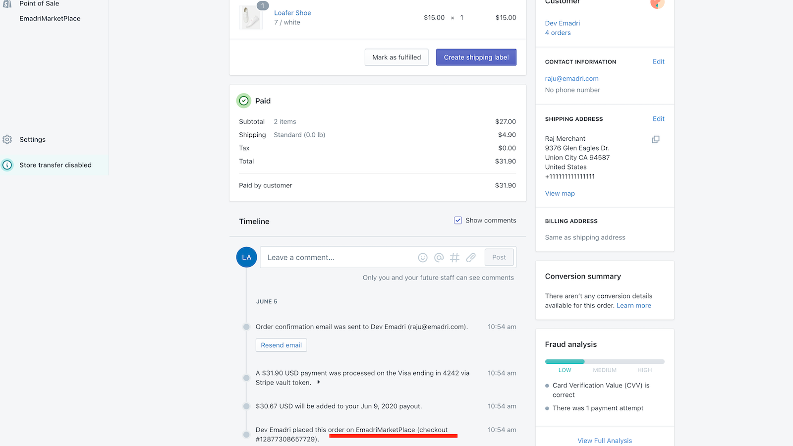 Shopify dashboard showing order from Emadri marketplace