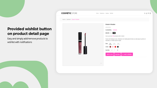 Wishlist button on product detail