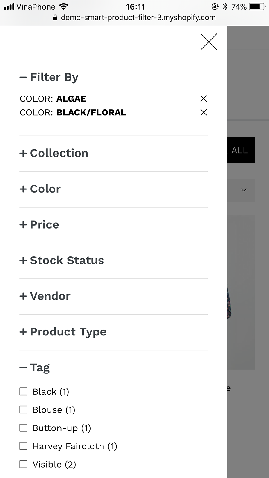 Filter options on mobile