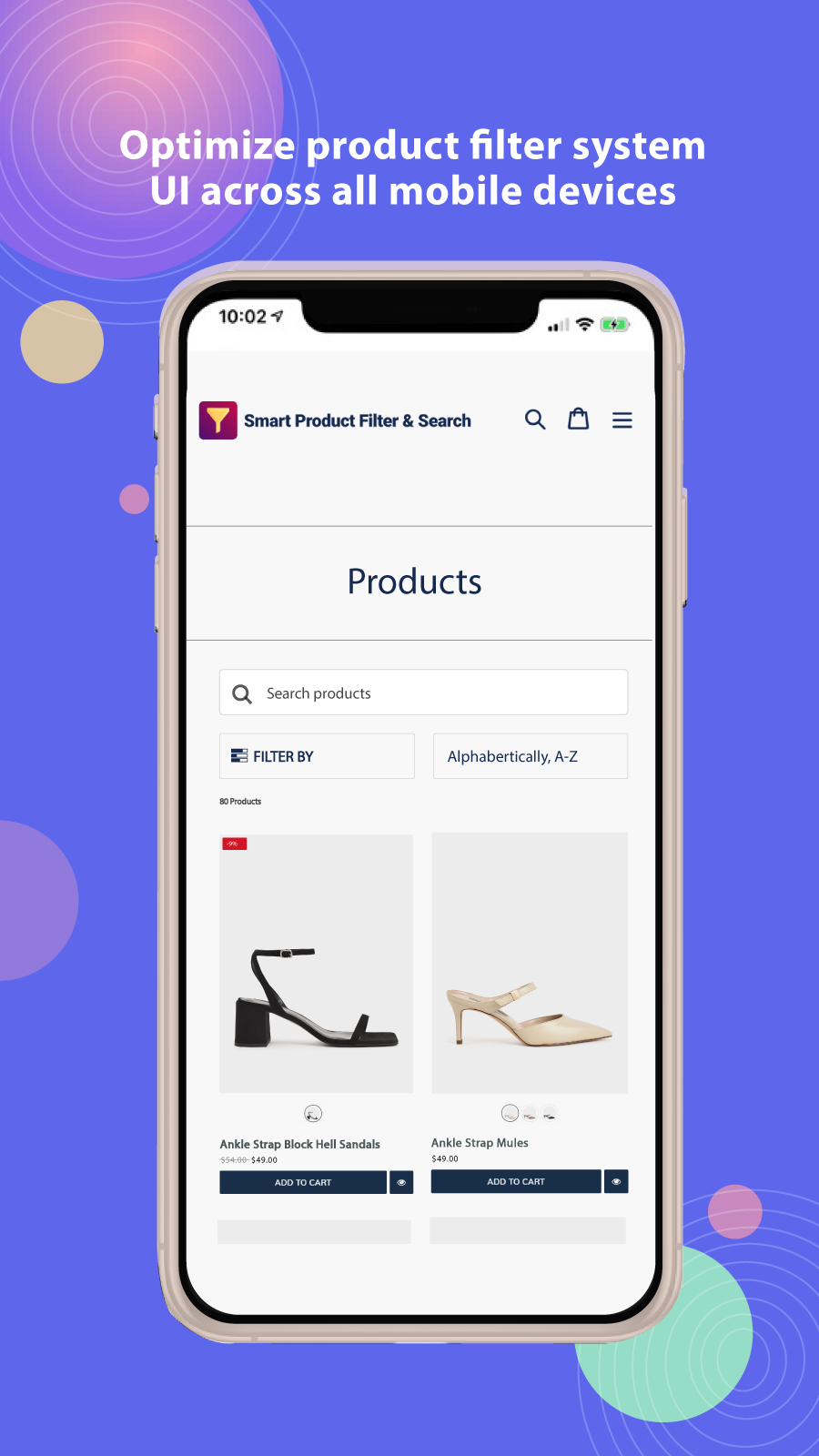 Product filter on mobile