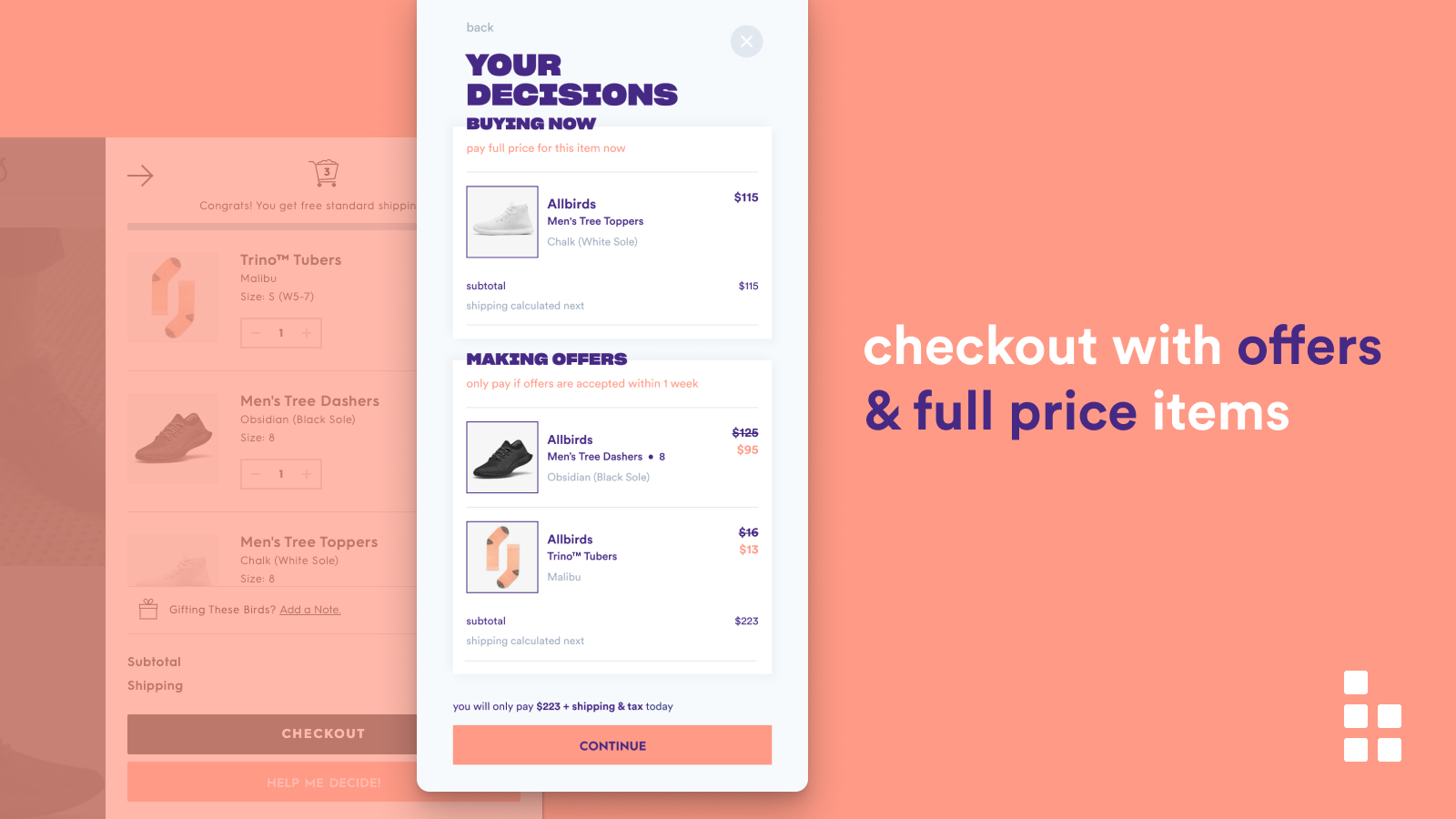 Checkout booster with a mix of offers and full price items