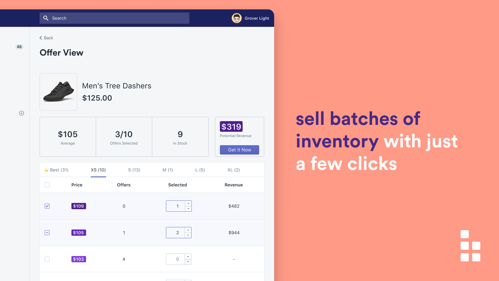 One click instantly sells batches of products at the best price
