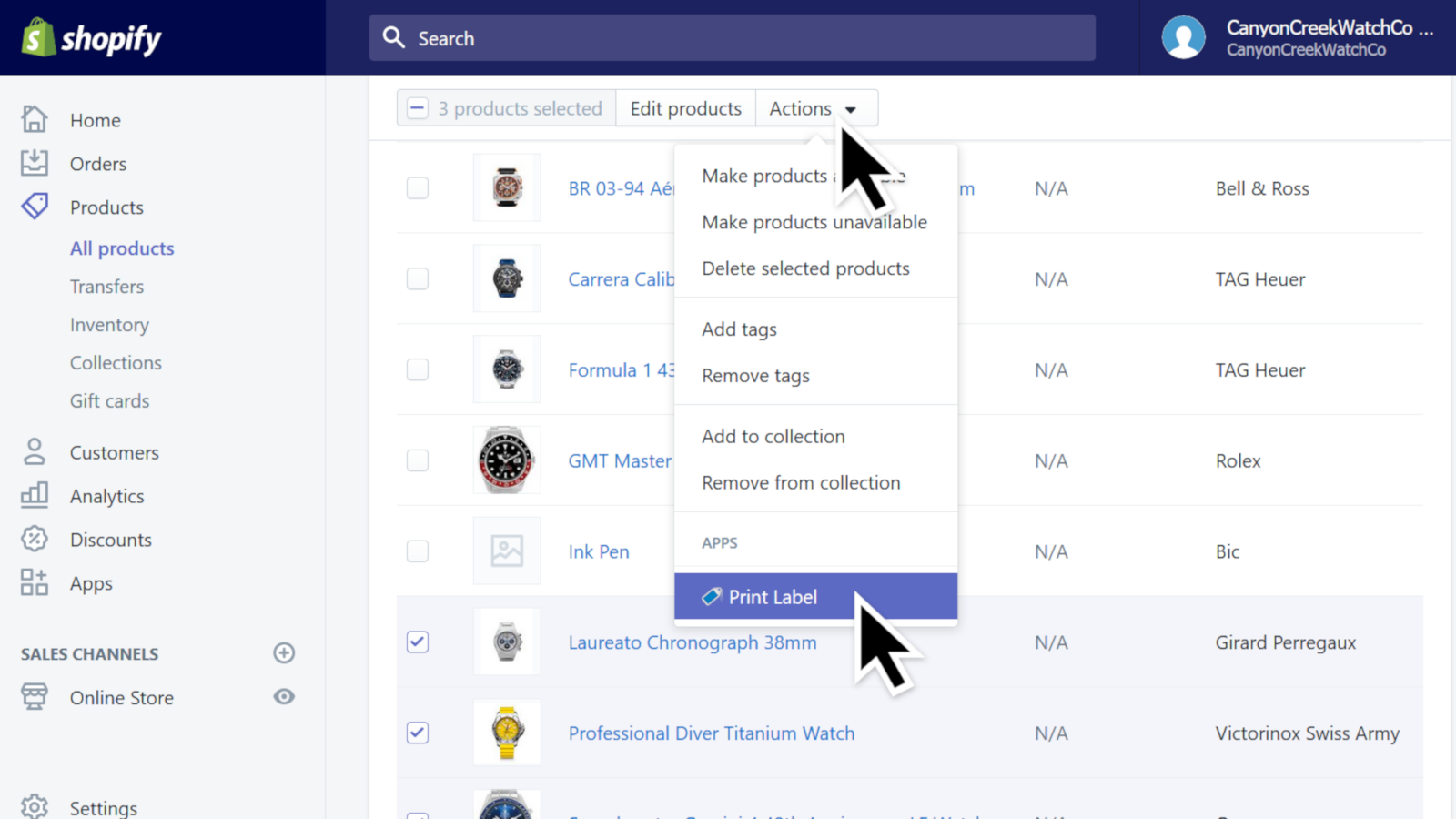 Adding products from with Shopify