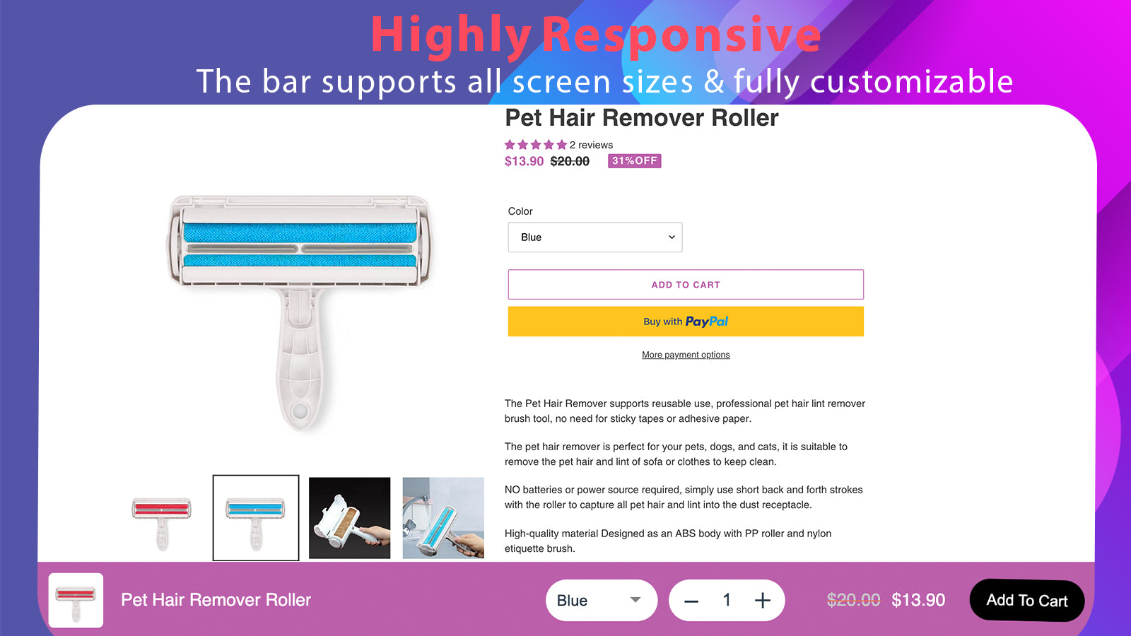 responsive sticky add to cart cart