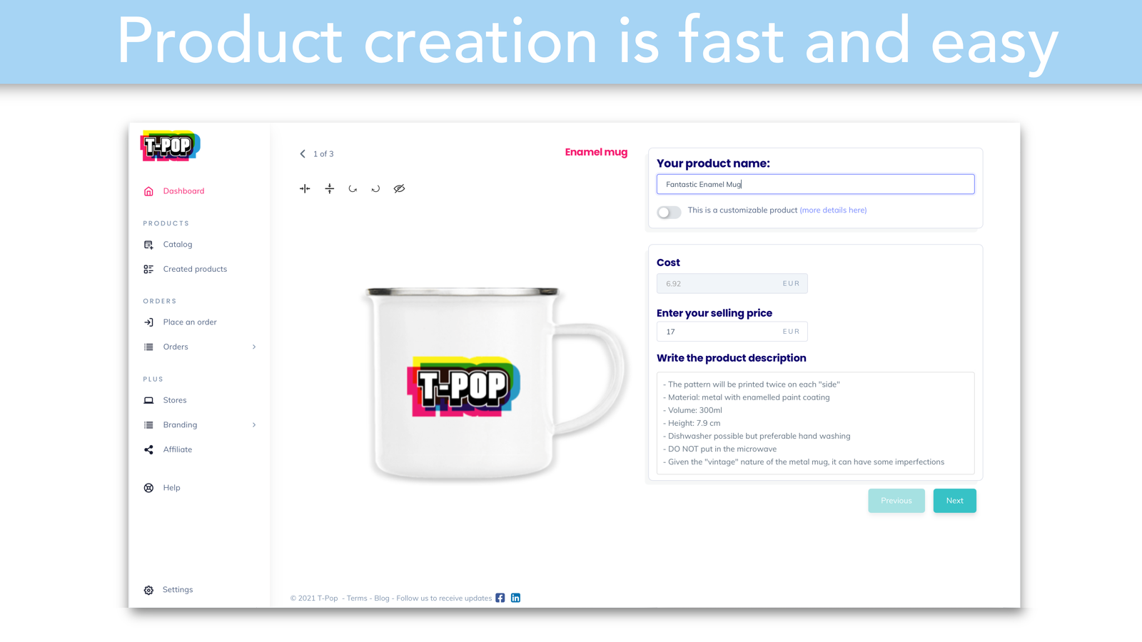 T-Pop Dropshipping: find and create print on demand t-shirts