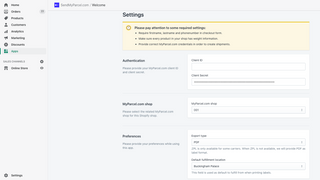 App settings page with added credentials