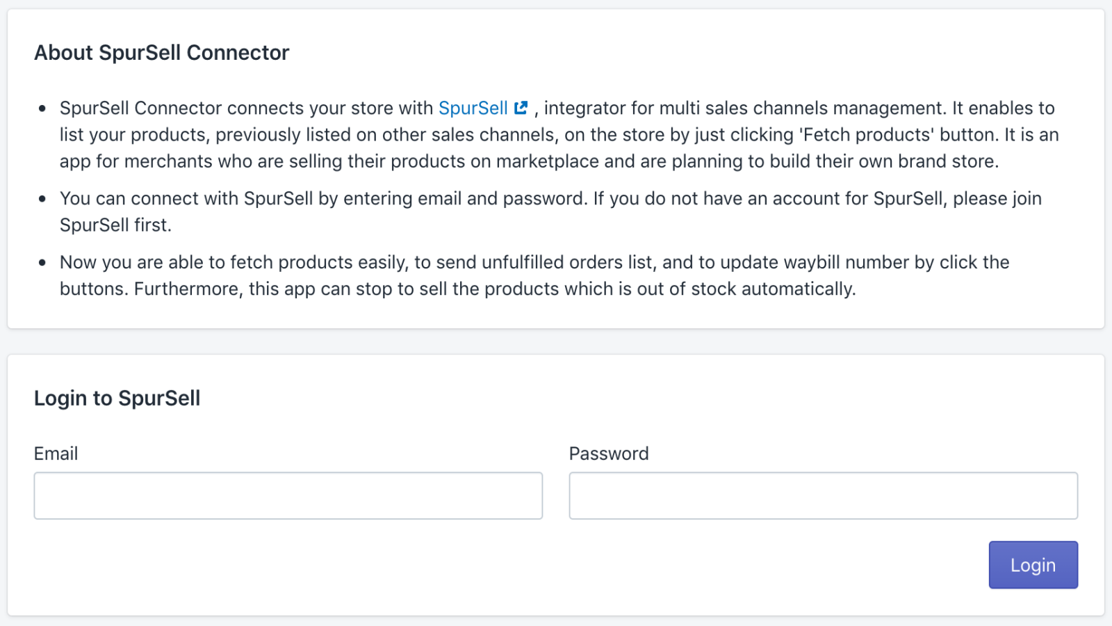 Please log in to SpurSell