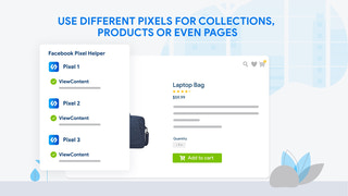 Use different pixels for collections, products or even pages