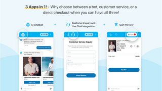 3 apps in 1 : Bot, customer service, direct checkout in 1 place