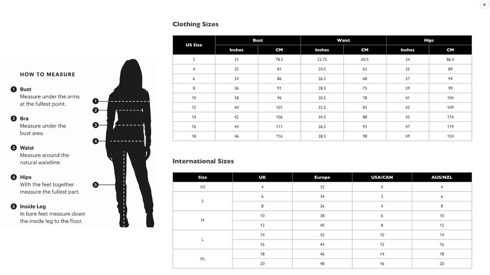 Shopify size chart app - example 3