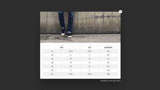 Shopify size chart app - example 1