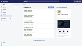 Clean Size Charts app - listing screen