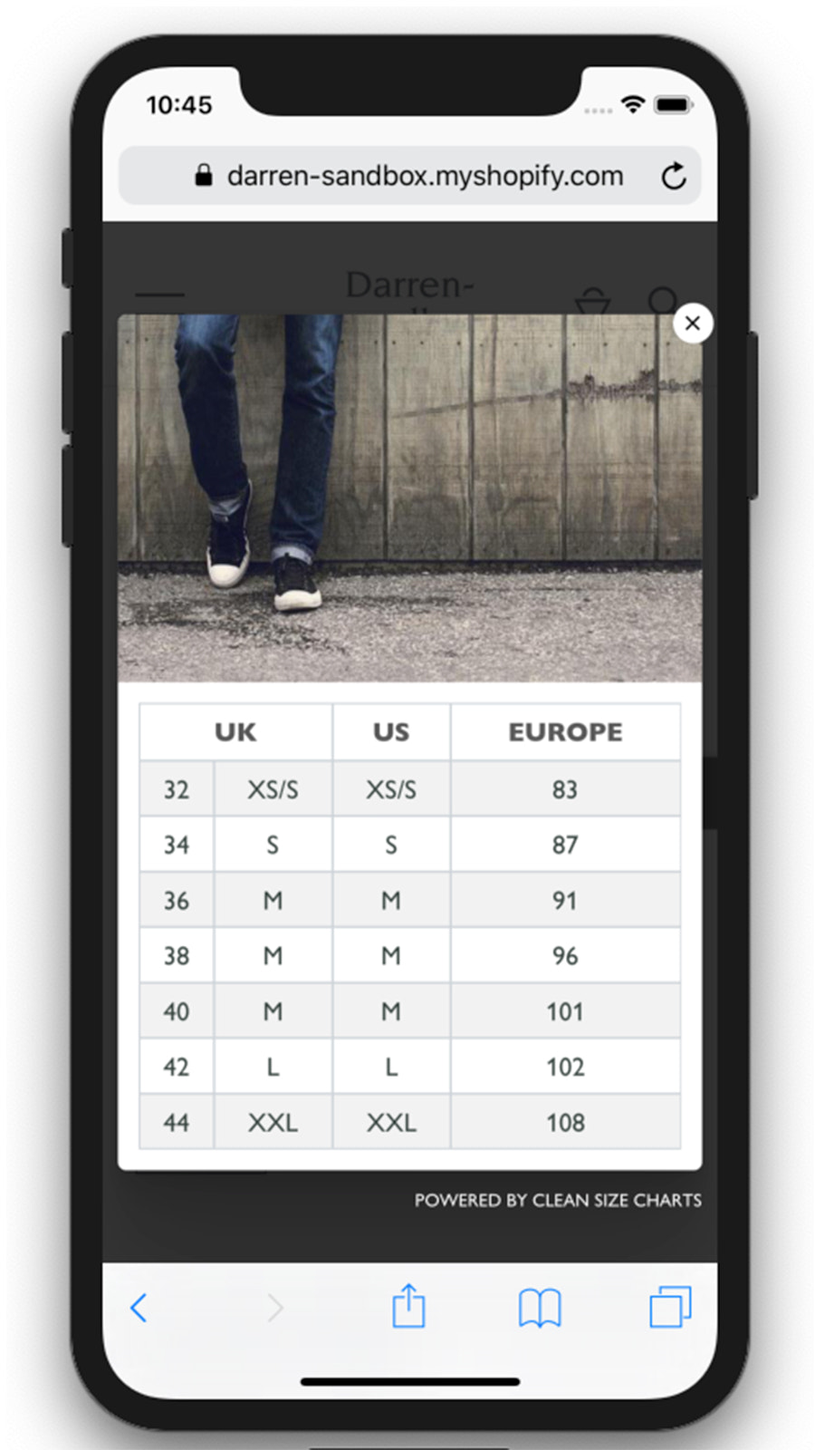 Shopify size charts app mobile - example 2