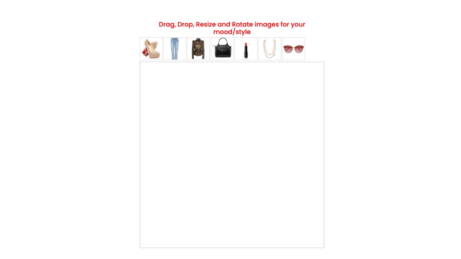 Drag, Drop, Resize and Rotate images for mood board page.