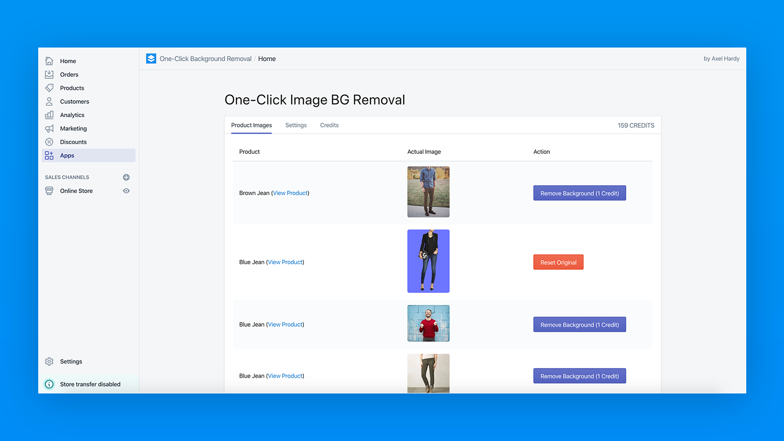 Remove Shopify Product Background in One Click