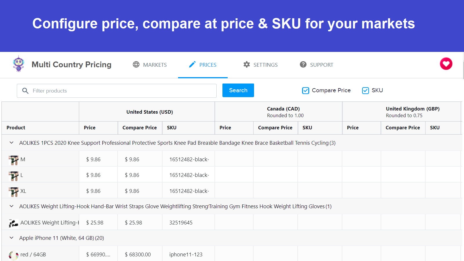 Set different prices in Multi Country Pricing App