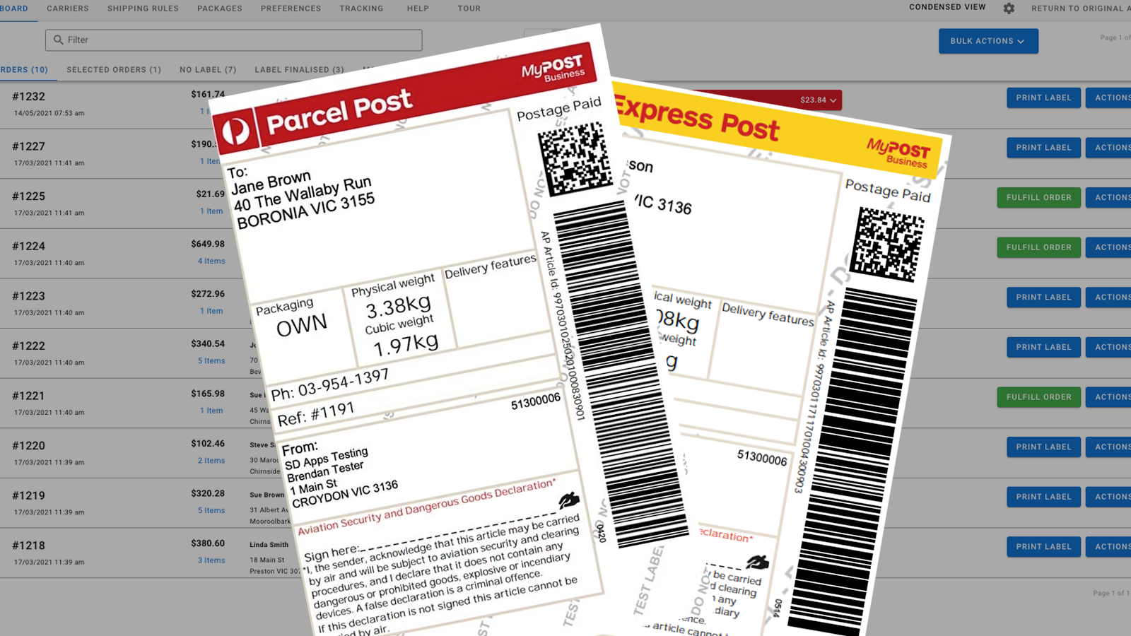 Pay and Print Auspost labels WITHIN the app!