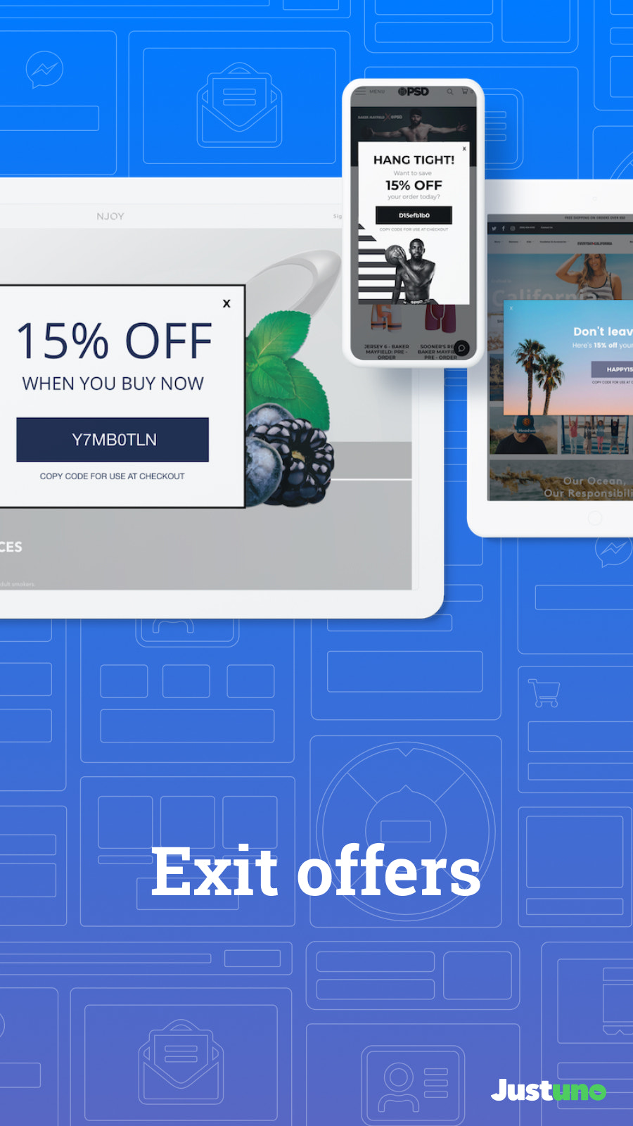 Mobile optimized exit offers and cart abandonment