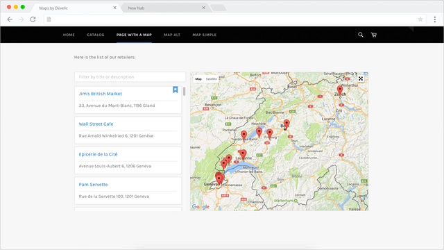 Maps by Develic, storefront component