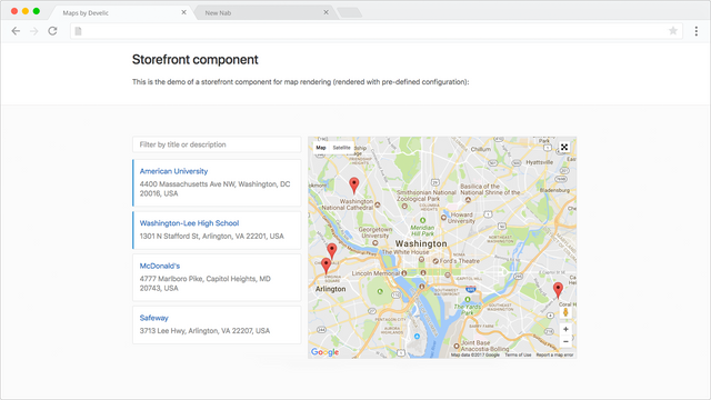 Maps by Develic, use case, storefront