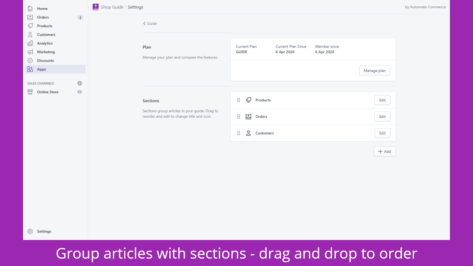 Handbook - Shop User Guide - group with sections