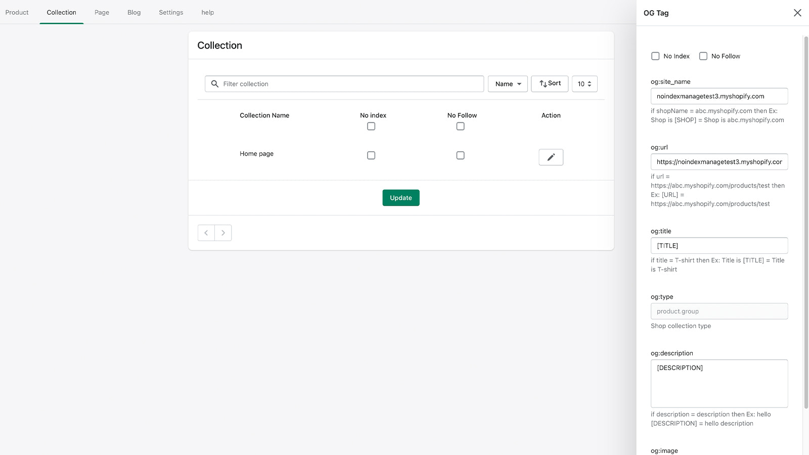 Collection Page Settings
