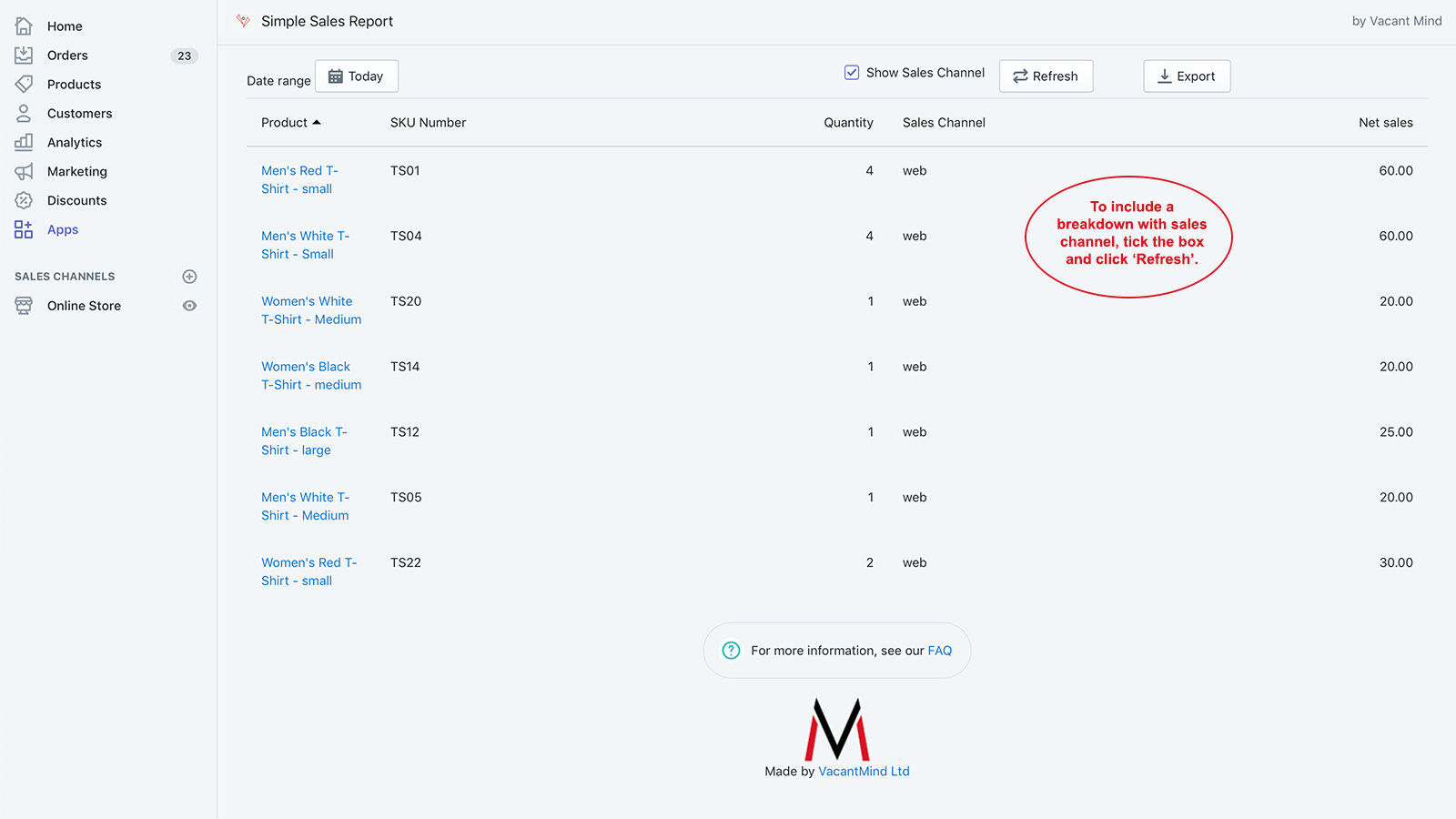 Simple Sales Insight - Today with Sales Channel by Vacant Mind