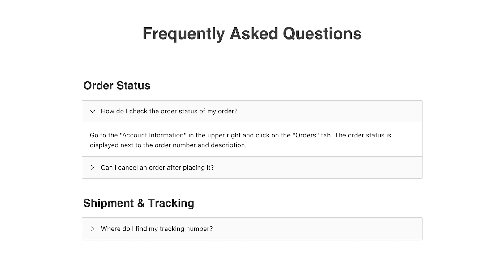 Published FAQ page (in your Shopify app)