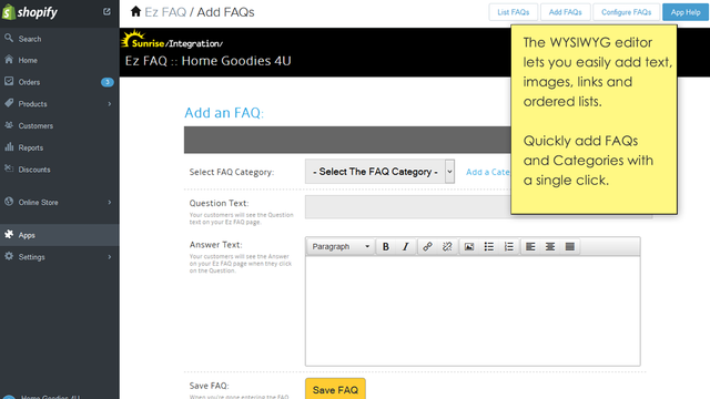 WYSIWYG editors makes it easy to enter your text and images