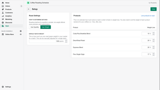 Setup screen where you can link your Shopify coffees.