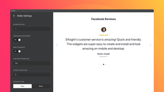 An active review carousel with autoplay and navigation controls