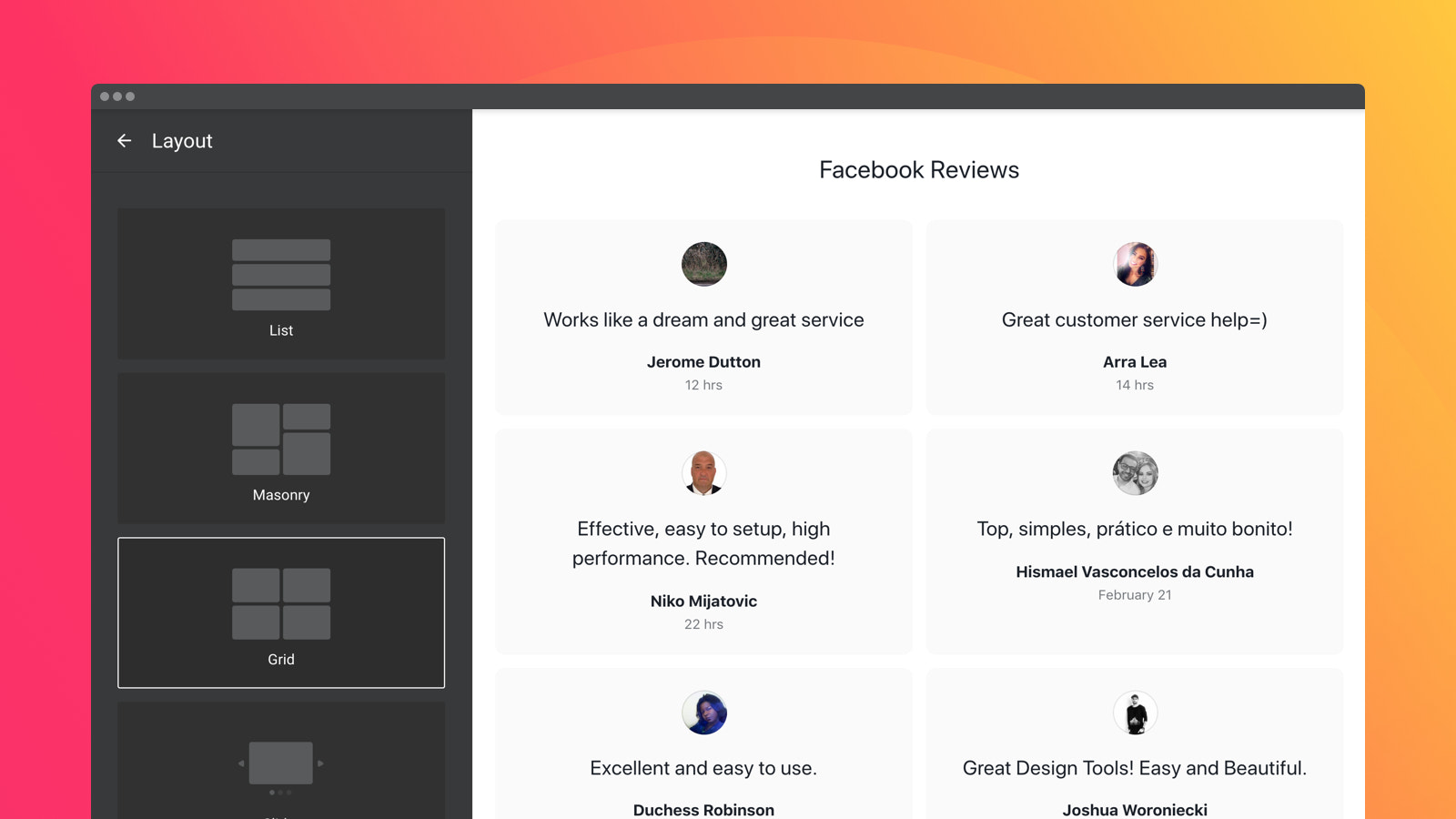Four predefined layouts to position the widget right on any page