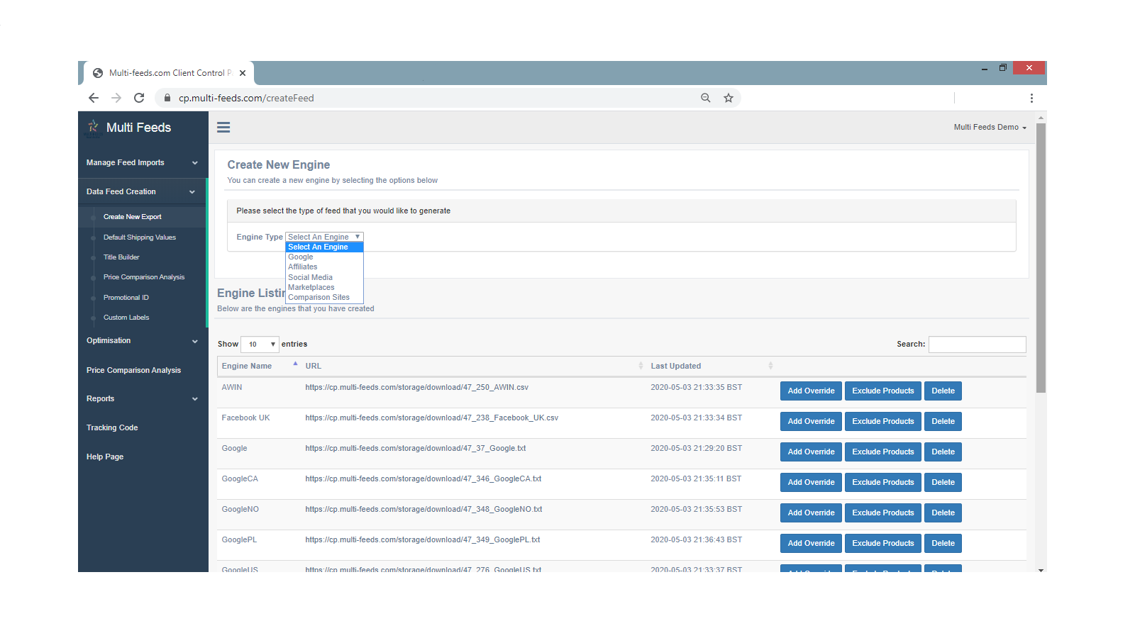 Create Any Data Feed Required Quickly & Easily